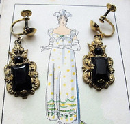 GORGEOUS Antique Jewelry Czech Glass and Filigree Metal Drop EARRINGS Beautiful Design Flapper Era Collectible Costume Jewellery