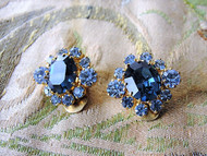 SPARKLING Vintage 50s Clip On Earrings BLUE Rhinestones Gorgeous Timeless Design Vintage Costume Jewelry