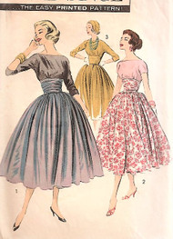 1950s BEAUTIFUL Evening Cocktail Party Dress and Shirred Cummerbund Pattern ADVANCE 8345 Lovely Full Skirted Dress  Bateau Neckline, V Back Bust 36 Vintage Sewing Pattern