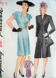 1940s  FAB WW II Era Dress and Coat Pattern SIMPLICITY 1282 V Neckline Dress Figure Flattering Princess Coat Bust 34 Vintage Sewing Pattern
