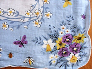 LOVELY Vintage Printed Hanky Blue Handkerchief White Yellow Flowers Hankie  14 inches by 14 inches