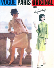 60s CHIC Jacques Griffe Suit Pattern VOGUE PARIS Original 1455 Jacket and Skirt with Scarf Bust 32 Vintage Sewing Pattern + Label