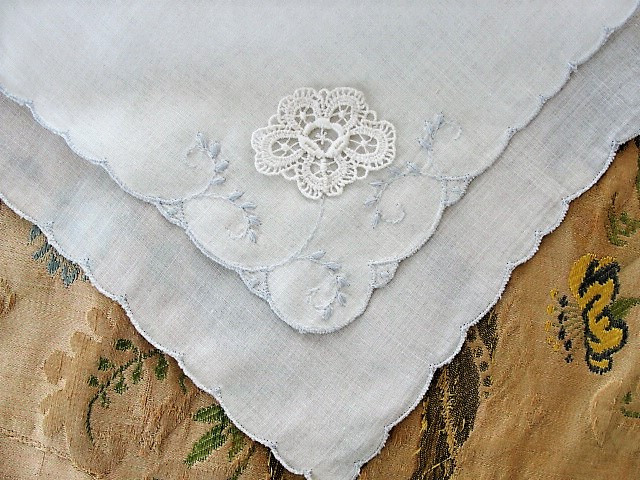 Lovely baby blue embroidery vintage hankie handkerchief lace