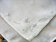 ELEGANT Raised Pale Blue Embroidery Work Vintage Hankie Handkerchief Fine Linen Wedding Bridal Bridesmaid Special Hanky Something Blue