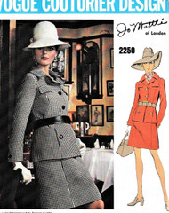 60s FAB Slim Suit Pattern VOGUE Couturier Design 2250 Featuring Jo Mattli Designer Size 10 Vintage Sewing Pattern FACTORY FOLDED