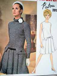 60s PATOU Drop Waist Dress Pattern VOGUE PARIS Original 2013 Front Pleats Standing Bias Collar or Jewel Neckline Very KATE MIDDLETON Size 10 Vintage Sewing Pattern UNCUT