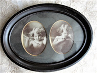 ANTIQUE Cupid Awake Cupid Asleep Framed Original 1897 Photos By M.B. Parkinson Charming Framed Photgraph Picture