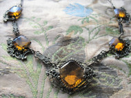 GORGEOUS Antique Art Deco Czech Cut Glass Necklace, Filigree Setting, Amber Faceted Glass, 1920s 30s Jewelry