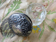 LOVELY Repousse ROSES Antique Sterling Silver Cut Crystal Vanity Dresser Cosmetic Jar Decorative Boudoir Collectible