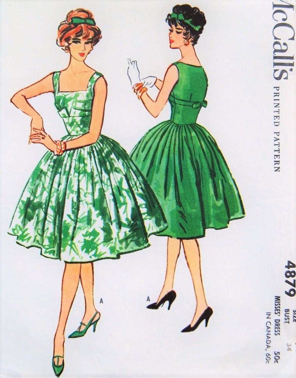 9ac67344288 1950s GLAMOROUS Evening Cocktail Dress Pattern McCALLS 4879 Gorgeous ...