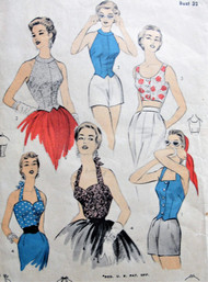 50s BEAUTIFUL Halter Tops Blouses Pattern ADVANCE 6689 Four Bombshell Styles Day Beach and Evening Bust 32 Vintage Sewing Pattern