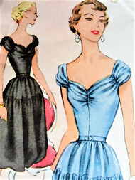 50s BEAUTIFUL Party Dress Pattern McCALLS 8505 Almost Off Shoulders Sweetheart Neckline Perfect For Sheer Fabrics Bust 32 Vintage Sewing Pattern