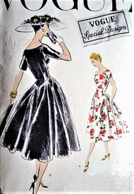 1950s ELEGANT Dress with Drop Waist Vogue Special Design 4700 Bust 30 Cocktail Party Evening Dress Vintage Sewing Pattern