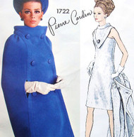 60s Stunning PIERRE CARDIN Cocktail Party Dress and Cape Coat Pattern VOGUE PARIS Original 1722 Unique V Shape Plastron With Standing Collar Mod Dress Bust 32 Vintage Sewing Pattern FF +Label