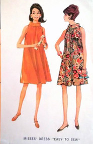 1960s Mod Tent Flared Trapeze  Dress Pattern McCalls 8826 Large Bust 38-40 Easy To Sew Vintage Sewing Pattern
