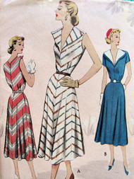 1950s STRIKING Summer Dress Pattern MCCALL 8484 Flattering Wide Collar, Flared Bias Cut Skirt, Bust 36 Vintage Sewing Pattern