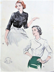 50s CHIC Blouse Pattern BUTTERICK 6219 Perfect For Suits and Skirts Bust 36 Vintage Sewing Pattern