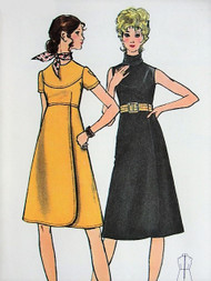 60s MOD High Waisted Dress with Wrap Skirt BUTTERICK 6050  Two Lovely Styles Bust 36 Vintage Sewing Pattern FACTORY FOLDED