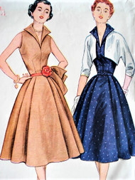 1950s LOVELY 1950s Day or Cocktail Party Dress and Bolero Jacket Pattern SIMPLICITY 3846 Wing Collar Full Skirt Dress Bust 30 Vintage Sewing Pattern