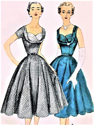 1950s Beautiful Cocktail Party Evening Dress Pattern Simplicity 4704 Rockabilly Shelf Bust Fitted Bodice Full Flare Skirt Gorgeous Style Bust 32 Vintage Sewing Pattern