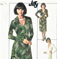 1970s FAB DVF Wrap Dress Pattern Diane Von Furstenberg Style Wraparound Dress Famous Iconic Design American Hustle Simplicity 7705 Vintage Jiffy Sewing Pattern Bust 34