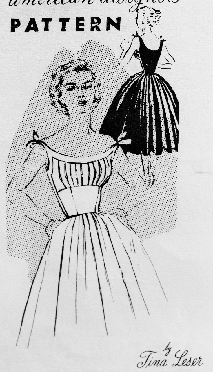 1950s Rockabilly Designer Dress Pattern Spadea 1084 Tina Leser Flirty Tied Shoulders Low Scoop Neckline Midriff Full Skirted Dress Daytime Or Evening Bust 34 Vintage Sewing Pattern A Ladies Shop