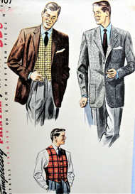 1950s Vintage DAPPER Mens Jacket and Vest Simplicity 4107 Sewing Pattern Chest 40