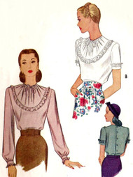 40s LOVELY Film Noir Style Blouse Pattern McCALL 6058 Bust 32 Vintage Sewing Pattern