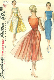 1950s CHIC Evening Cocktail Dress Pattern Simplicity 1679 Bateau Neckline Sheath With Gorgeous Detachable Cummerbund Flowing Panel Bust 32 Vintage Sewing Pattern