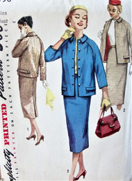 50s STYLISH Suit Pattern SIMPLICITY 1798 Casual Raglan Sleeve Jacket and Slim Skirt Suit Bust 33 Vintage Sewing Pattern FACTORY FOLDED