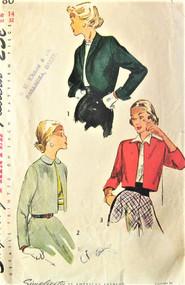 1940s STYLISH Bolero Short Jackets Pattern SIMPLICITY 2780 Three Fab Styles Bust 32 Vintage Sewing Pattern