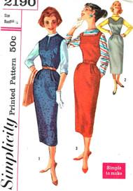 1950s VERSATILE Slim Dress or Jumper Pattern SIMPLICITY 2190 Three Neckline Versions Bust 34 Vintage Sewing Pattern