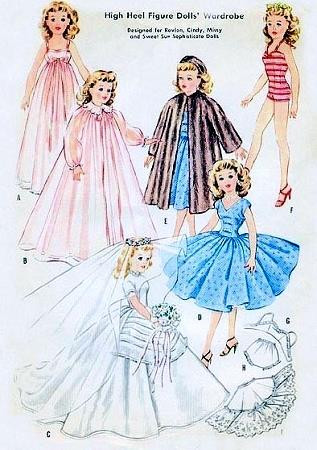 50s HIGH HEEL FIGURE DOLLS WARDROBE PATTERN REVLON,CINDY,MISSY,SWEET SUE DOLLS McCALLS 2162