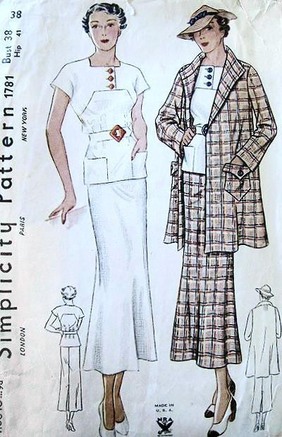 1930s Art Deco 2 Pc Slim Dress Swagger Coat Jacket Pattern Nra