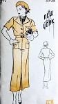 1930s New York Pattern 597 Slim Tailored Dress Art Deco Style