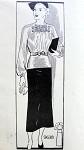 1930s 2 PC DRESS PATTERN BEAUTIFUL SHIRRED BLOUSE, SLIM SKIRT MARIAN MARTIN PATTERNS 9638