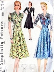 1930s  DRAPED BODICE DRESS PATTERN 2  PRETTY VERSIONS SIMPLICITY 3137