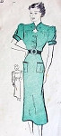 1930s SLIM DRESS PATTERN KEYHOLE NECKLINE PUFF SLEEVES