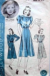 1930s HOLLYWOOD PATTERN 1717 LOVELY DRESS With PUFF SLEEVES FLARED SKIRT FEATURES MOVIE STAR MARY CARLISLE
