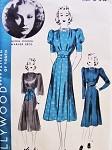 1930s MOVIE STAR Dress Pattern HOLLYWOOD 1703 Lovely Girdle Waist Design 3 Sleeve Styles Starlet Gloria Dickson Bust 32 Vintage Sewing Pattern