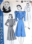 1930s Lovely Frock Dress Pattern Hollywood 1867 Back Fullness Godet Tucked Bodice Puff Sleeves Featuring Jane Wyman Bust  38 Vintage Sewing Pattern