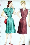 1940s DRESS PATTERN  2  BODICE STYLES SIMPLICITY 2123
