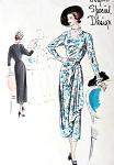 1940s Vogue Special Design Pattern 4862 Cascade Draped Overskirt Dress Unique Cut Out Design Neckline Lovely Style
