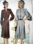 1940s McCALL PATTERN 6633 STRIKING TAILORED DRESS, 2 SLEEVE STYLES, NECKLINES