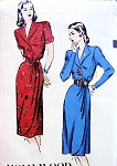 1940s HOLLYWOOD 1955 DRESS PATTERN SIMULATED WRAP, FRONT DRAPED,TAILORED BODICE