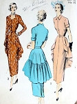 1940s LOVELY DRESS PATTERN FLOWING BACK PEPLUM, 2 NECKLINES, UNIQUE STYLE ADVANCE 5228