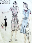 1940s PRETTY SUMMER DRESS PATTERN 2 BODICE STYLES VOGUE 9680