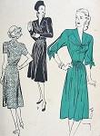 1940s SOFT DRESS PATTERN LOVELY STYLES SPLIT SLEEVES BUTTERICK 3927
