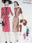 1940s Lovely Dress and Jacket Pattern VOGUE 9670 Bust 30 Vintage Sewing Pattern