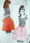 1960s CUTE Half Apron Pattern McCalls SAMPLE One Size Kitchen or Hostess Aprons Vintage Sewing Pattern